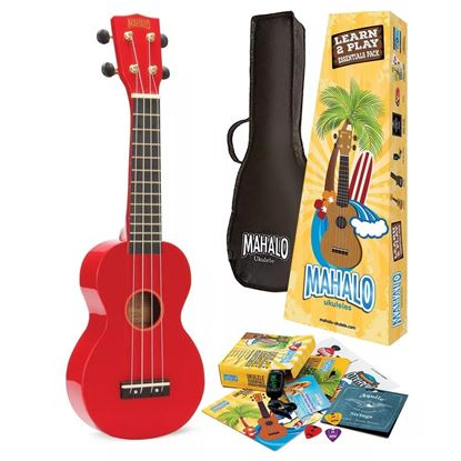 Mahalo MR1RDK Rainbow Series Ukulele Essentials Pack in Red