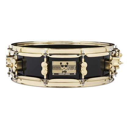 PDP Eric Hernandez Signature 14 x 4in 6ply Maple Snare Drum in Piano Black Lacquer with Gold Hardware