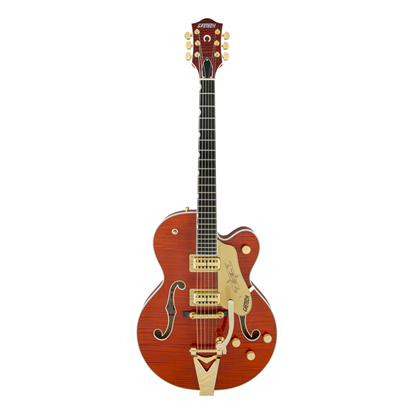 Gretsch G6120TFM Players Edition Nashville Electric Guitar with Bigsby Flame Maple Top - Orange Stain