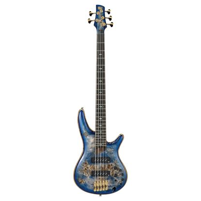Ibanez SR2605 CBB Premium 5 String Bass Guitar in Case Cerulean Blue Burst