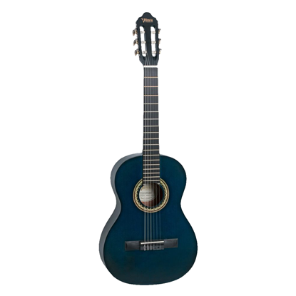 Valencia 200 Series ¾ Classical Guitar - Transparent Blue - Front