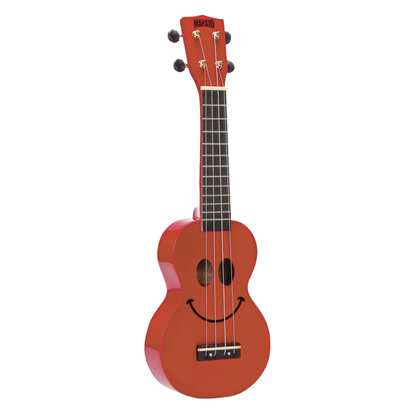 Mahalo Art Series Smiley Face Ukulele - Red - Front
