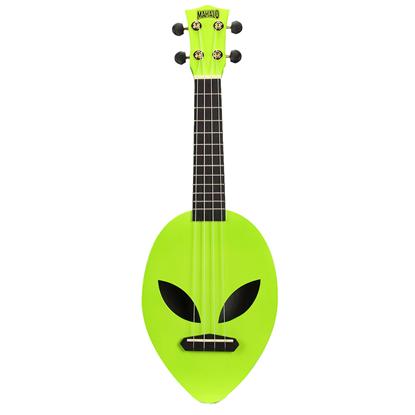 Mahalo Creative Series Soprano Alien Shaped - Green - Angle - Front