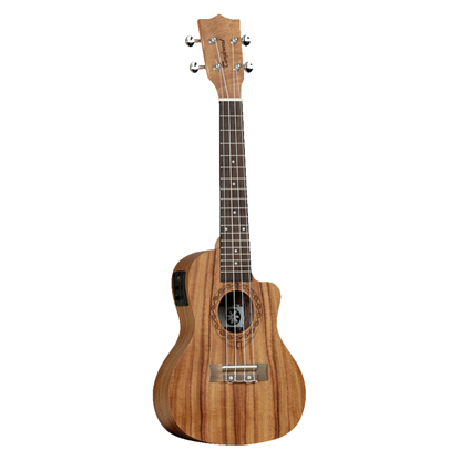 Tanglewood Tiare Concert Ukulele with Pickup and Gig Bag - Natural Satin Figured Koa - Front