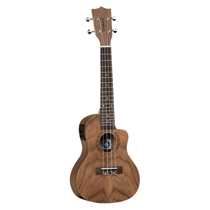Tanglewood Tiare Concert Ukulele with Pickup and Gig Bag - Natural Satin Figured Pacific Walnut - Front