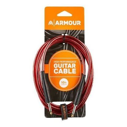 Armour GC10R Guitar 10 Foot in Transparent Red - Cable
