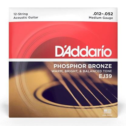 D''Addario EJ39 12 String Acoustic Guitar Strings 12-52 Phosphor Bronze Medium - Front