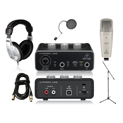 Behringer UM2 Home Recording Bundle (with C1 Mic, Mic Stand, Pop Filter & XLR Cable)