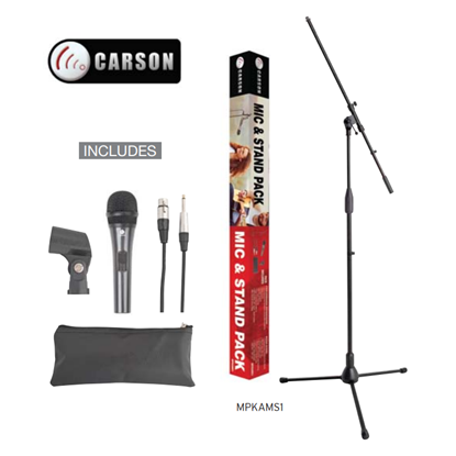 Carson MPKAMS1 Microphone & Stand Package with Cable & Accessories