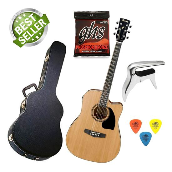 Ibanez PF17ECE LG Acoustic Guitar Starter Pack (with Hard Case, Extra Strings, Capo, In-Built Tuner & Pickup)
