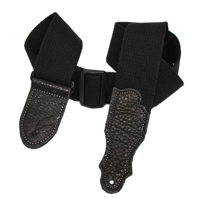 Franklin 2 Inch Black Cotton with Black End Tab Guitar Strap