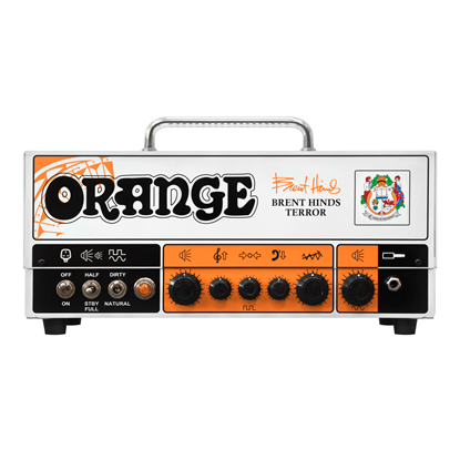 Orange Brent Hinds Terror Guitar Valve Head - Front