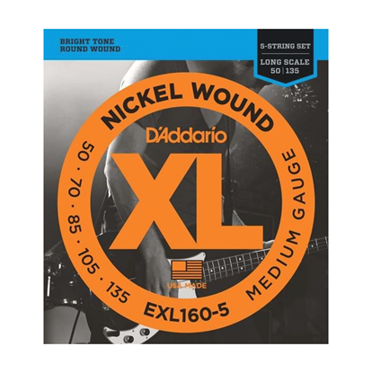 D'Addario EXL160-5 5-String Bass Guitar Strings 50-135 Medium, Long Scale