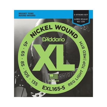 D'Addario EXL165-5 5-String Bass Guitar Strings 45-135 Custom Light, Long Scale