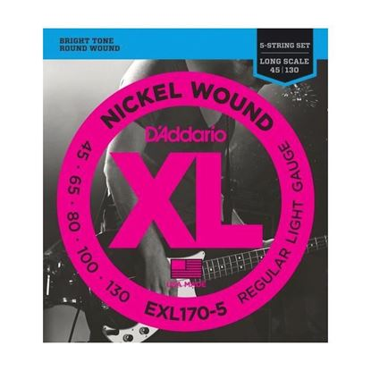 D'Addario EXL170-5 5-String Bass Guitar Strings 45-130 Light Guage Long Scale
