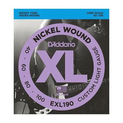 D'Addario EXL190 Bass Guitar Strings 40-100 Custom Light, Long Scale