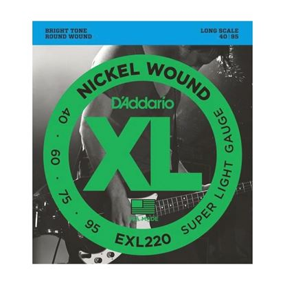 D'Addario EXL220 Bass Guitar Strings 40-95 Super Light, Long Scale