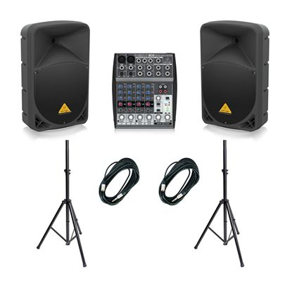 Behringer B112D 12 inch Powered PA Performers Package w/ Xenyx 802 Mixer, Speaker Stands & 10m Cables