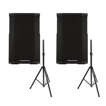 Cerwin Vega CVE-15 15 inch Powered Bluetooth PA Speaker Package w/FREE Speaker Stands