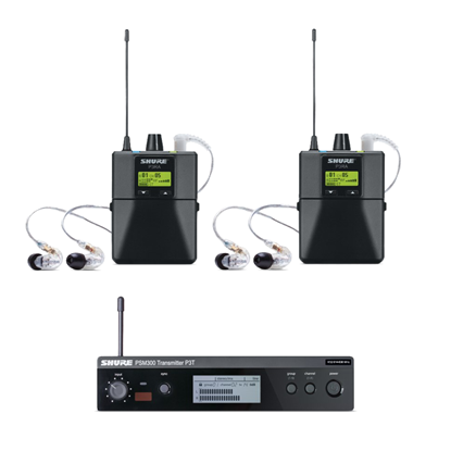 PSM300 Twin Wireless System 630-654 MHz; includes 2x P3R Bodypacks & 2x SE215-CL
