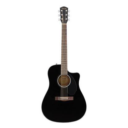 Fender CD-60SCE Dreadnought Acoustic Guitar - Walnut Fretboard - Black - Front