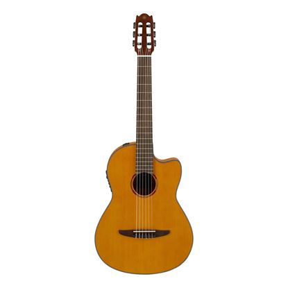 Yamaha NCX1FM Acoustic-Electric Flamed Maple Top Classical Guitar in Natural - Front