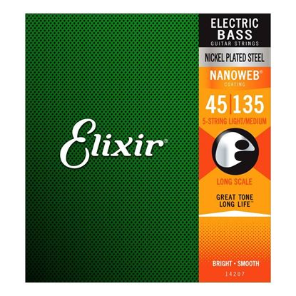 Elixir 45-135 Bass Guitar Strings Nickel NANOWEB Coated 5-String Light Medium Gauge
