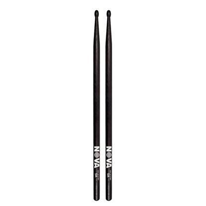 Vic Firth 5A in Black with NOVA imprint - Wood Tip Drumsticks