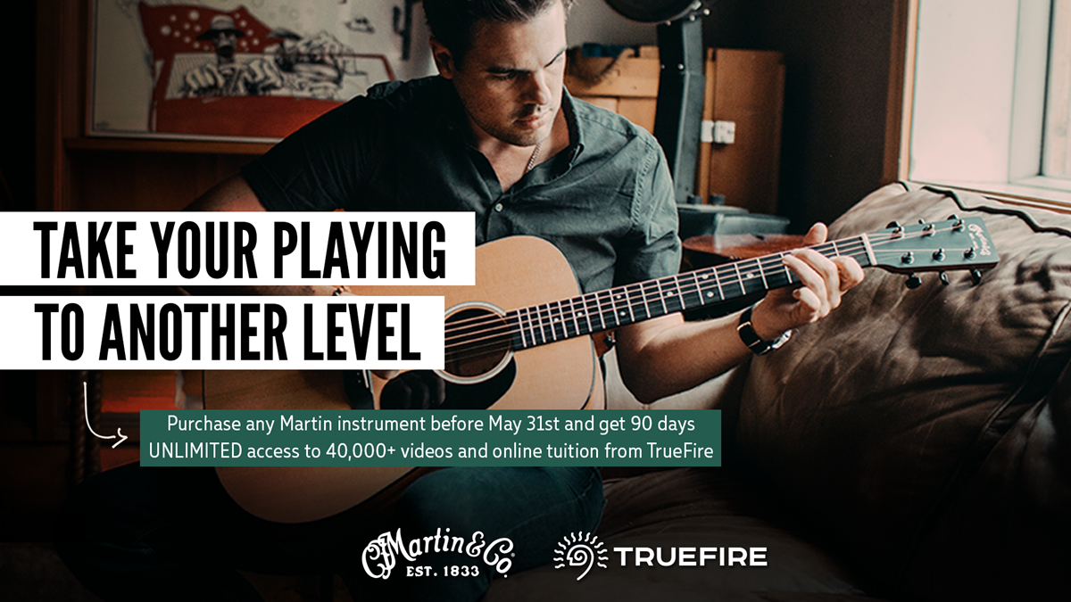 Purchase any new Martin Guitar or Ukulele from now until the 31st of May and get 90 days unlimited access to TrueFire!