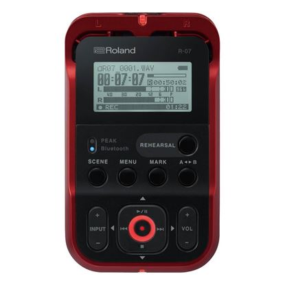 Roland R-07 High Resolution Audio Recorder in Red (R07-RD) - Front