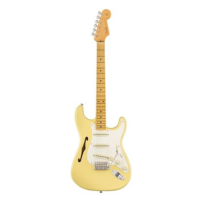 Fender Eric Johnson Thinline Stratocaster Electric Guitar - Maple Neck - Vintage White - Front