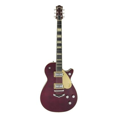 Gretsch G6228FM-PE Players Edition Duo Jet V-Stoptail Electric Guitar Dark Cherry Stain Flame Top - Front