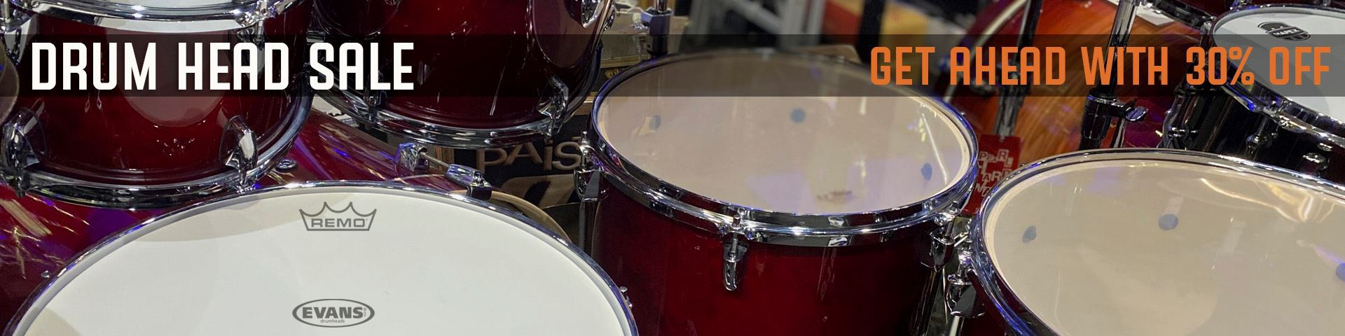 30% Off Remo and Evans Drumheads - While Stocks Last