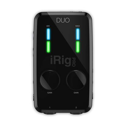 IK Multimedia iRig PRO Duo IO - Highly Portable Universal 2-Channel Mobile Audio/MIDI Interface - Front
