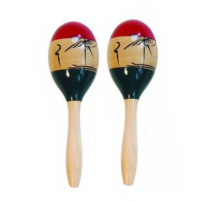 Mano Percussion 10inch Wooden Maracas - Tropical Theme