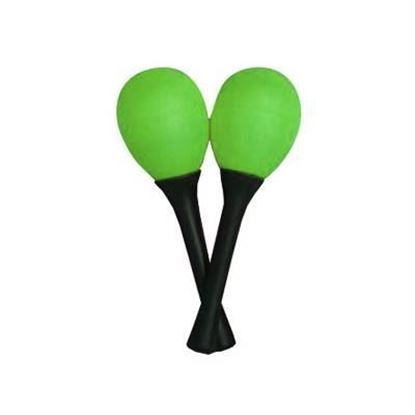 Mano EM122 Percussion Egg Shaped Maracas with Plastic Handle - Green