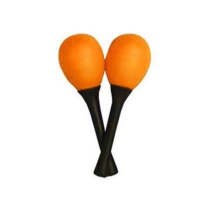 Mano Percussion Egg Shaped Maracas with Plastic Handle - Orange