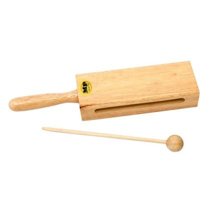Mano Percussion Wood Tone Block with Handle - 7inch Long