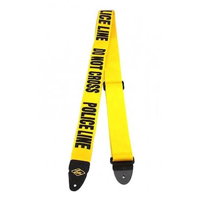 LM LMP4PL 2inch Poly Seatbelt Type Guitar Strap in Police Line Do Not Cross Design