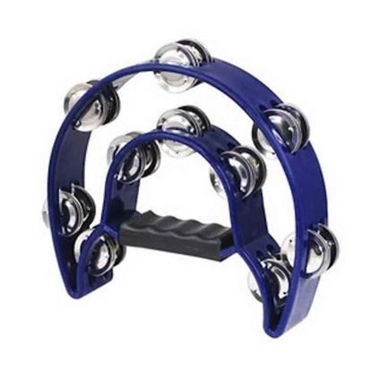 Mano Percussion 9x5inch Half Moon Tambourine with 16 Pairs of Jingles in Double - Blue