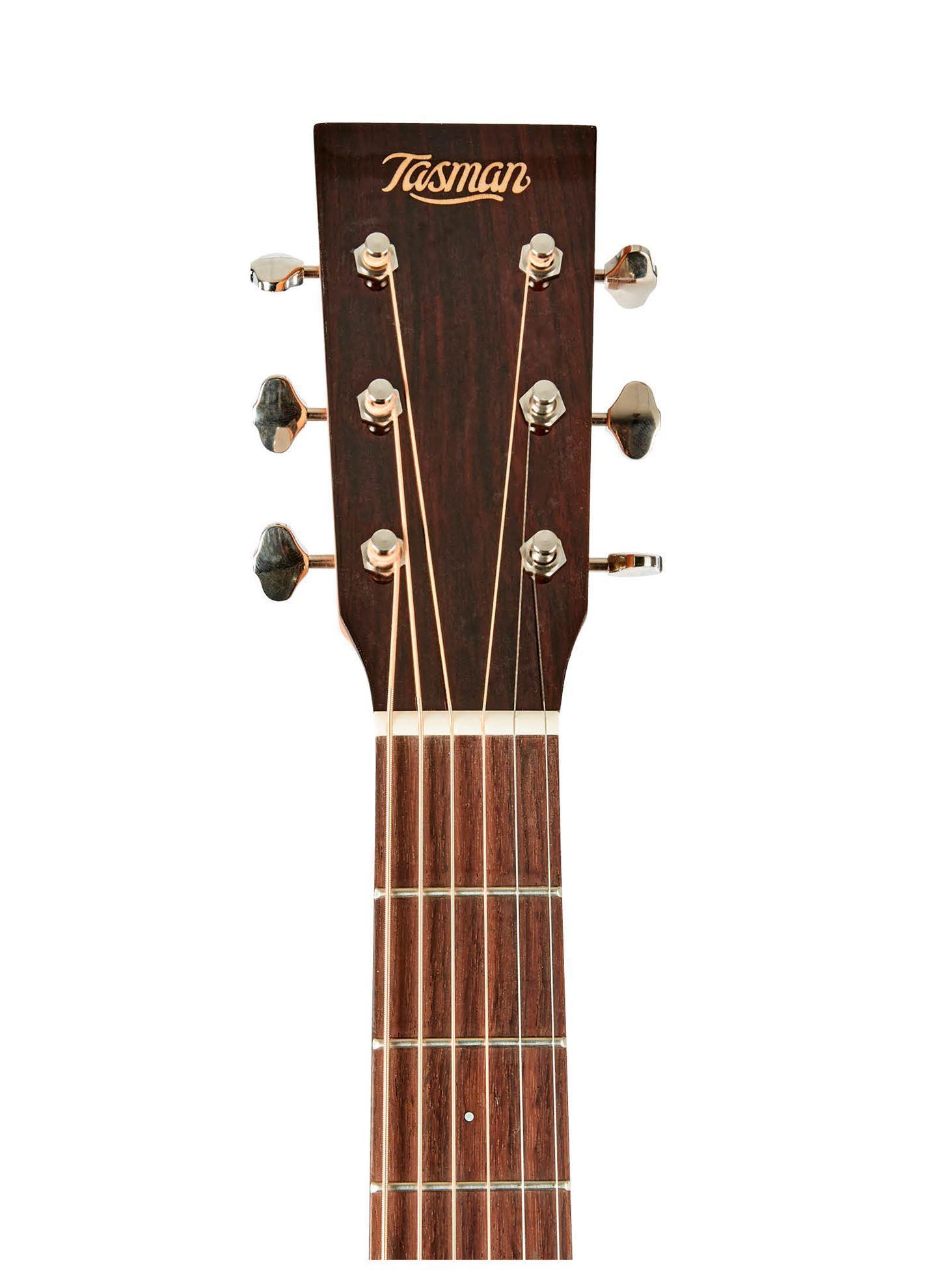 Tasman TA100 Acoustic Guitar with Case - Head