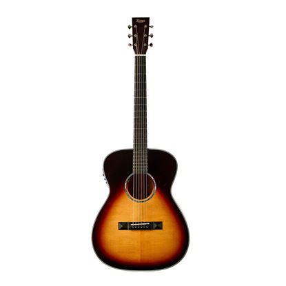 Tasman TA300O-E Om Acoustic Electric Guitar with Case - Front
