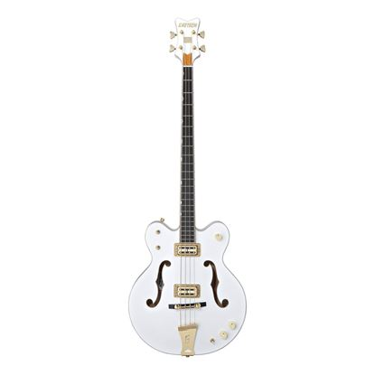 Gretsch G6136LSB Falcon Hollow Body Bass Guitar White - Front