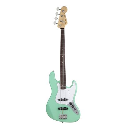 Fender MIJ Hybrid 60's Jazz Bass Guitar with Rosewood Fingerboard in Surf Green - Front