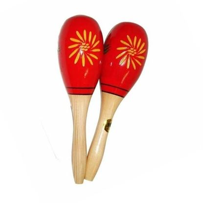 Mano Percussion UE410 Wooden Oval Shaped Maracas in Red with Yellow Floral Design