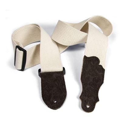 Franklin 2 Inch Natural Cotton with Chocolate Embossed Suede End Tab Guitar Strap