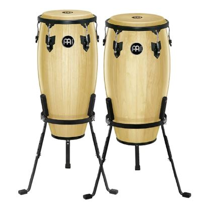 Meinl HC512NT 11 & 12in Headliner Series Wood Conga Set in Natural with Basket Stands