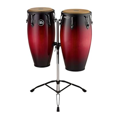 Meinl HC812WRB 11 & 12in Headliner Series Wood Conga Set in Wine Red Burst with Double Stands