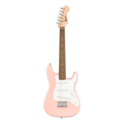 Squier Mini Stratocaster Electric Guitar with Laurel Fretboard in Shell Pink - Front