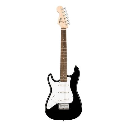 Squier Mini Stratocaster Left Hand Electric Guitar with Laurel Fretboard in Black - Front